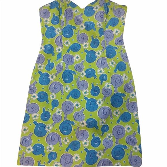 Vintage Lilly Pulitzer strapless snail print dress size 4